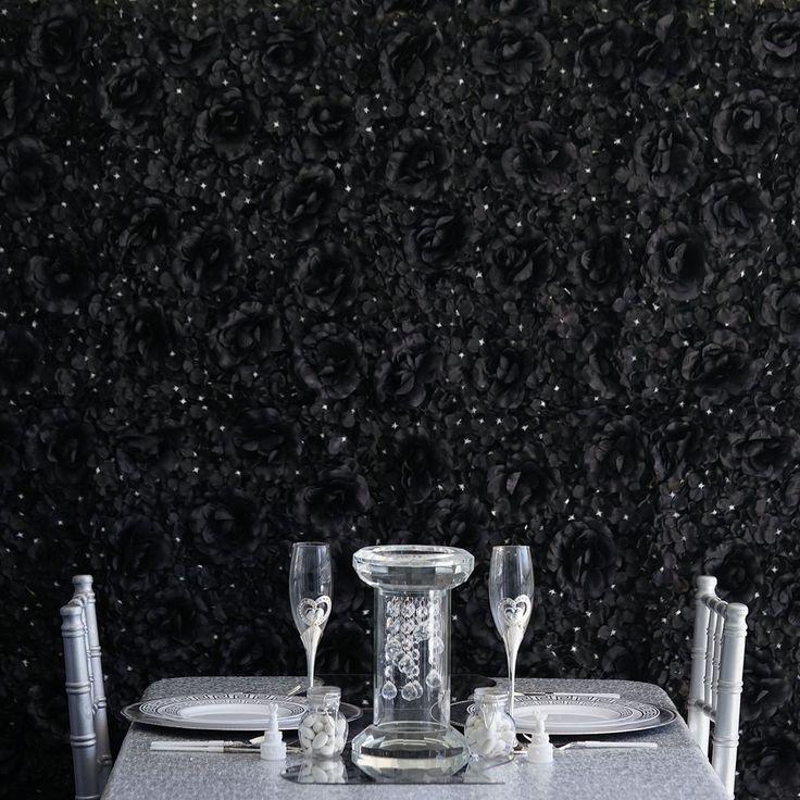 4 black flower wall hydrangeas artificial flower panels