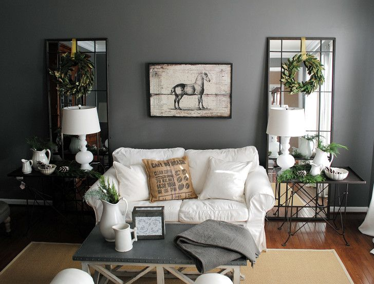 Great Living Room Designs Part - 35: Fascinating Dark Gray Color Scheme Living Room Decorating Idea Features  Beige Living Room Carpet
