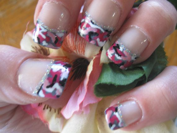 Handpainted Pink Camo French TipsFull Nail Tips by Cre8tiveKtina, $11.00 - Best 25+ Pink Camo Nails Ideas On Pinterest Camo Nails, Camo