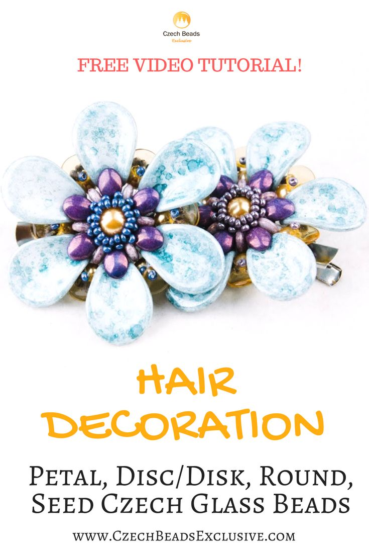 Petal, Disc/Disk, Round, Seed Czech Glass Beads � HAIR DECORATION Pattern Free Video Tutorial | SAVE it! | CzechBeadsExclusive.com #czechbeadsexclusive #czechbeads
