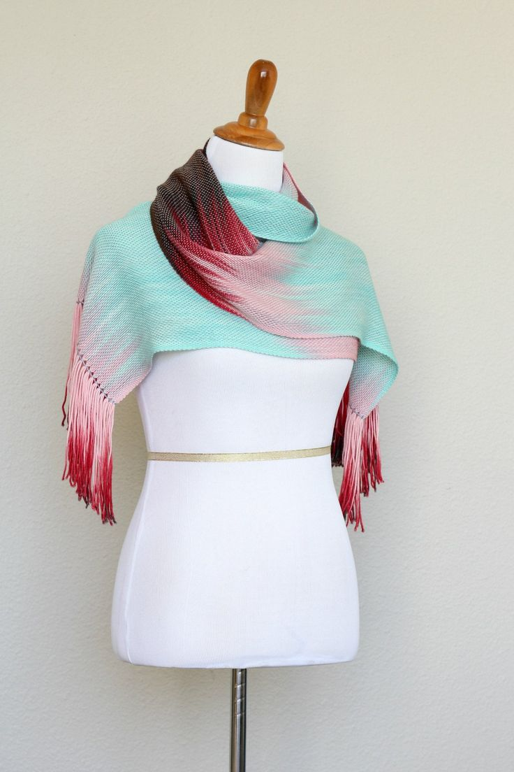 "Hand woven scarf in red, pink and mint colors. Perfect #gift for her! This woven scarf is very soft and drapes nicely! Measures: L: 78"" with 6"" fringe on both ends W: 11"" Ca... #kgthreads #accessories #cozy #fall #fashion #gradient #unisex #women #wrap"