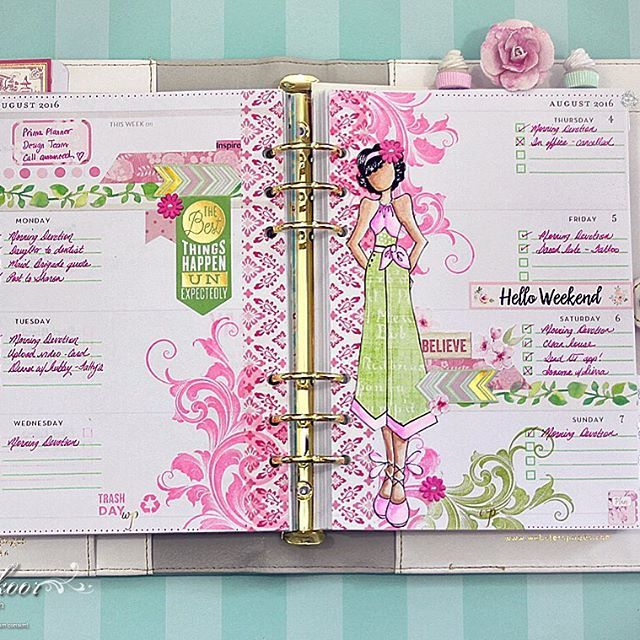 "Sharing my spread from last week. Went with a pink and green theme which is one of my many favorite color combos. I am finding that I have a serious crush on Kelly Purkey stamps. I used her ""Take Note"" stamp set to create my lines and boxes. @primamarketinginc @julie_nutting #colorcrush #mambistickers @kellypurkey #planner #plannercommunity"