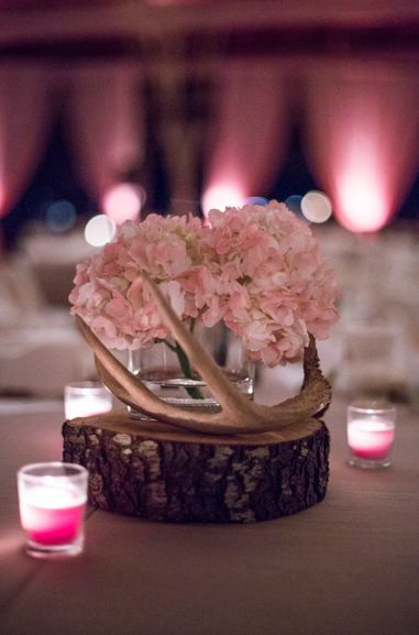 Rustic Wedding Centerpiece | Pale Pink Hydrangeas | Deer Antler Centerpiece | Wood Slab | Rustic Chic Wedding @brevandyke