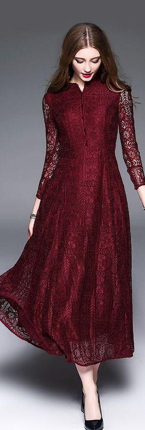 Burgundy Lace Maxi Dress