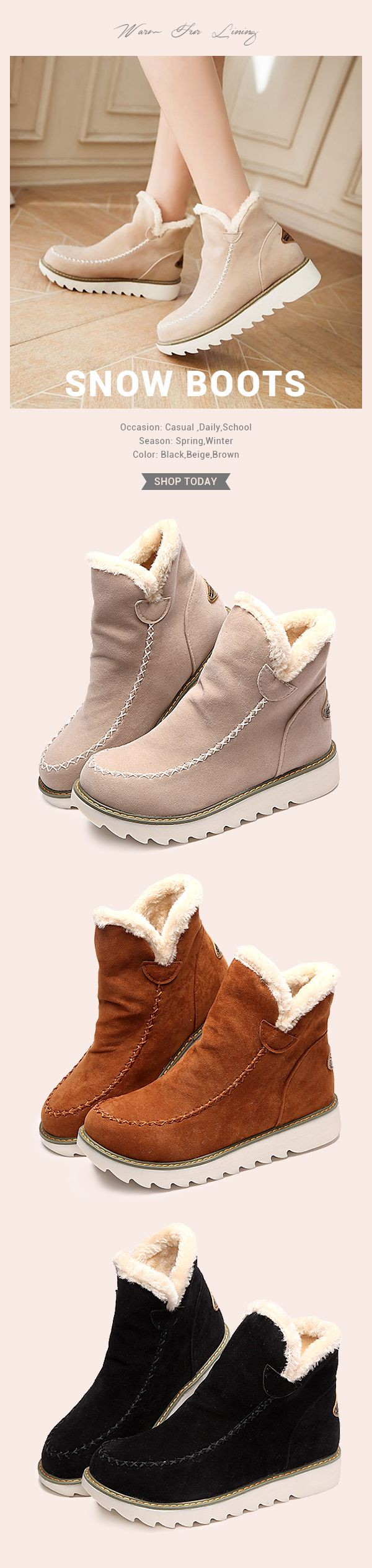 US$23.89  Big Size Pure Color Big Size Pure Color Warm Fur Lining Winter Ankle Snow Boots For Women