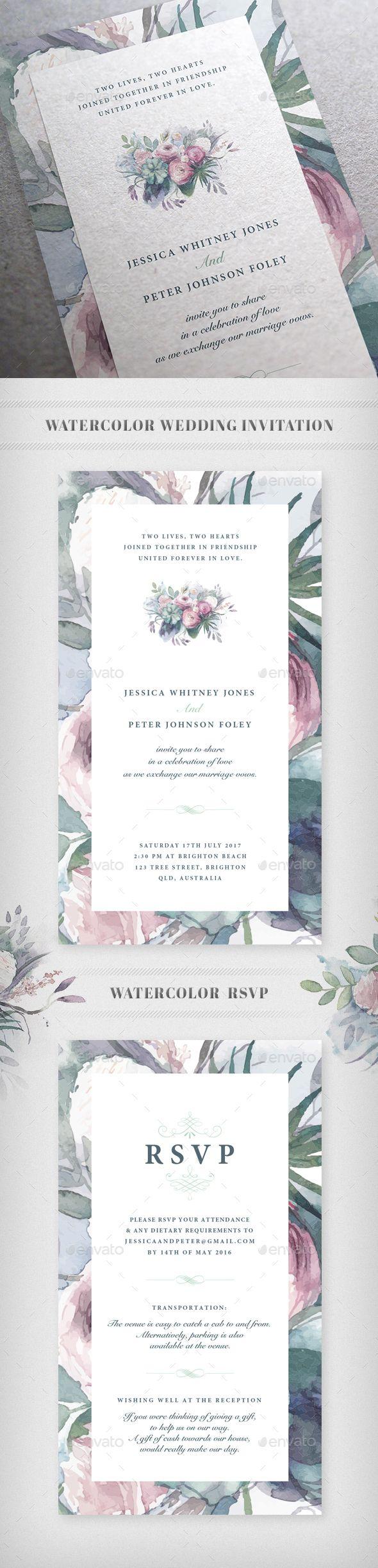 Watercolor Wedding Invitation Card Template Vector EPS #design Download: http://graphicriver.net/item/watercolor-wedding-invitation/13868151?ref=ksioks