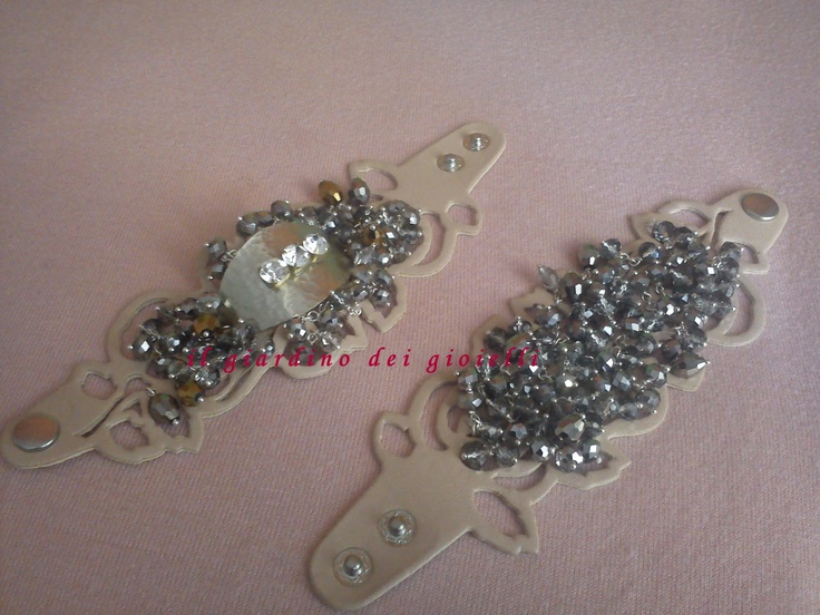 leather bracelets, metal, crystals and strass