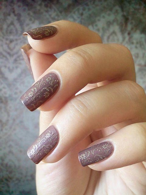#nail #nails #nailart. Stamping Nail Art.  Subtle floral swirl pattern design.