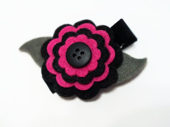 Tiny Black and Pink Felt Flower Clip with Button by harmony5, $5.50