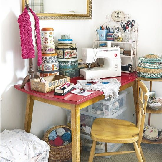 Vintage craft room with sewing machine and storage unit
