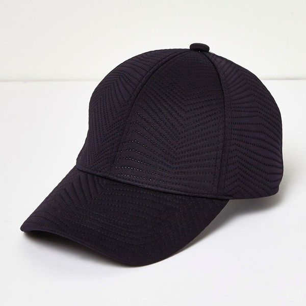 River Island Navy quilted sporty cap ($30) ❤ liked on Polyvore featuring accessories, hats, navy cap, navy blue cap, river island hat, river island and navy hat