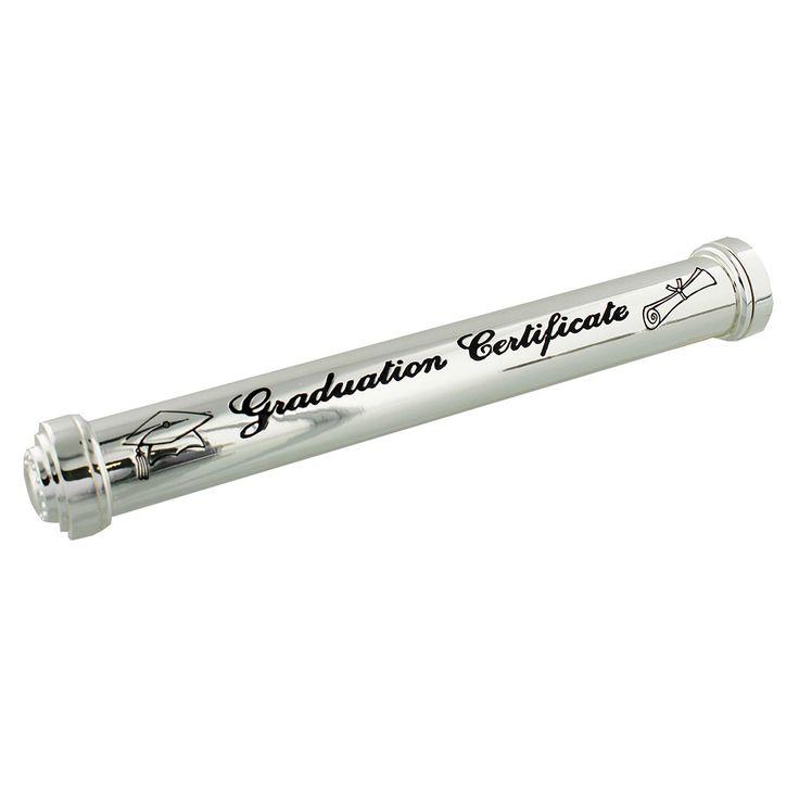 Oklevéltartó henger, ezüst színű ~ Ez az ezüstözött oklevéltartó henger egyedi ajándék diplomaosztóra, ballagásra. #diplomaosztó