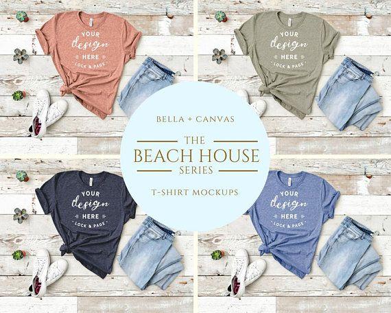 Download Tshirt Mockup Bella Canvas 3001 Beach House Series T Shirt Etsy Tshirt Mockup Mockup Mockup Free Psd