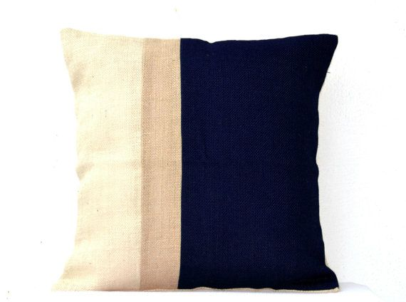 Burlap Pillows Navy Blue Burlap Pillow color block  by AmoreBeaute