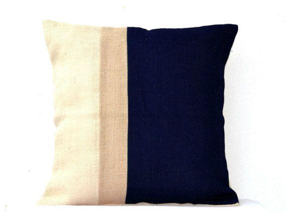 Burlap Pillows Navy Blue Burlap Pillow color block  by AmoreBeaute