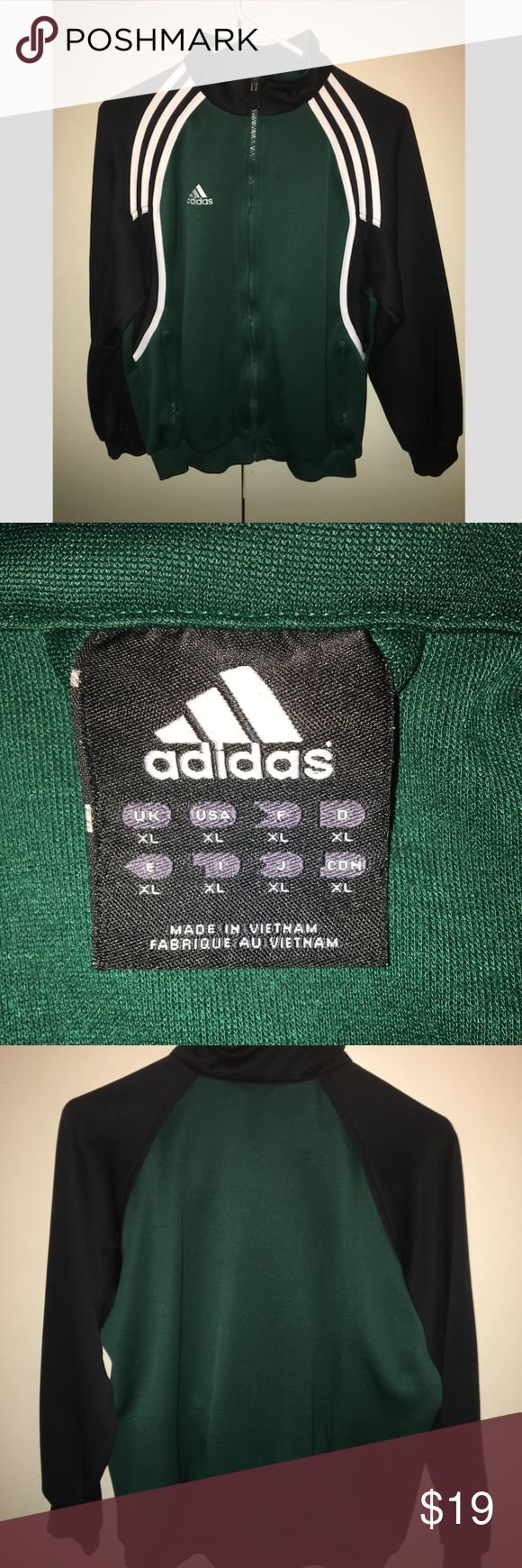 Adidas Zip-Up Warm Up Hoodie This is a dark green Adidas zippered hoodie in size kids XL. It is in great condition. While the size says XL Boy, it is a gender neutral hoodie. The pockets also zip-up. adidas Jackets & Coats