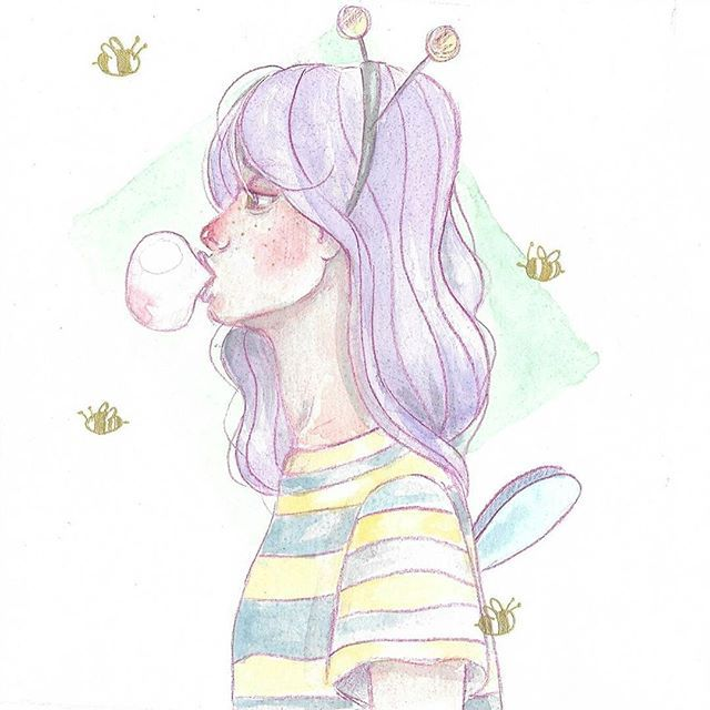 bzzzz 🐝🐝🐝 #bee#oc#character#characterdesign#spring#illustration#art#drawing#sketchbook#artbook#bee#girl#polishgirl#sketch#painting#watercolor#watercolorpainting#ilustracja#polishgirl#polishart#fly#pastel#inspiration#crazy#hair#sztuka#rysunek#akwarele#canson#nathalyacraft#pszczolka#loveit