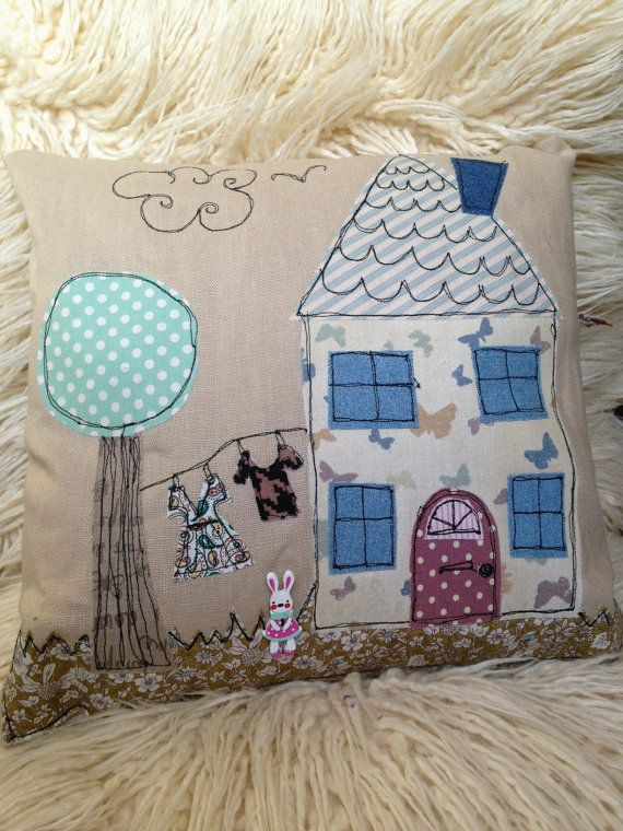 This cushion has been made by using the free-motion machine embroidery and appliqué technique. Each one is 100% one-of-a-kind!! The main body of the cushion is 100% linen and the appliqué pieces are either 100% cotton fabric or a tweed fabric made locally here in Cumbria UK (Linton Tweed).      Commissions are more than welcome and greatly appreciated! You can customise your colours, clothes on the clothesline (great as a gift for someone in uniform!!). You can even chose to have a certain…