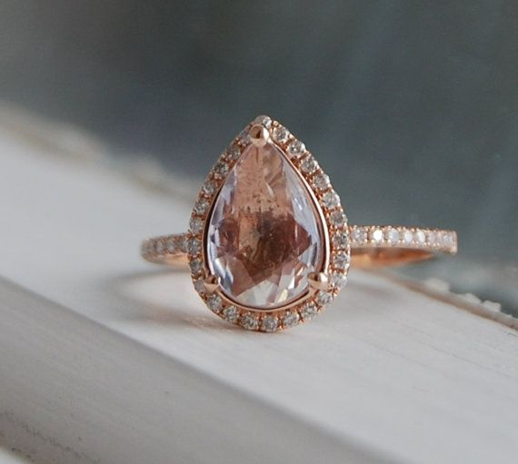 1 26ct Pear shape Ice Peach sapphire 14k rose gold diamond ring engagement ri