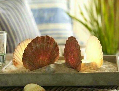 Scallop shell candle beach tray