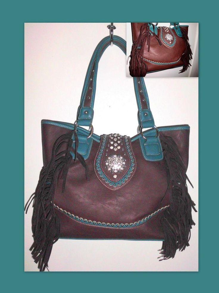 TEXAS LEATHER Concealed Carry Fringed Western Handbag Teal Brown Rhinestones #TexasLeatherManufacturing #ShoulderBag