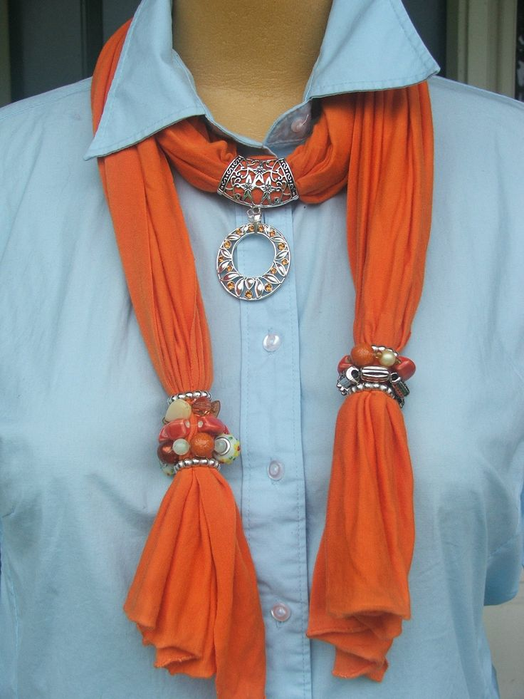 Jewelry Scarf, Tangerine orange knit, hand-beaded, silver ring with crystal accents pendant