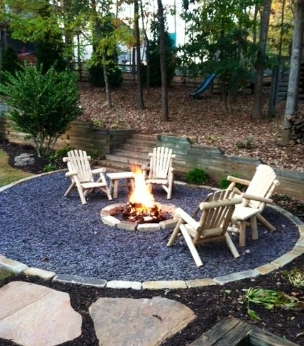 Gravel patio with firepit backyard pinterest for Gravel fire pit area