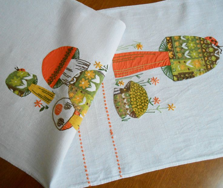 """Linen Table Runner Vintage Hand Embroidered Applique Mushrooms Ladybug Orange Green Gold 15"""" x 42"""" Mid-Century Mod Party Holiday Table Decor by VintageBabyByKay on Etsy"""