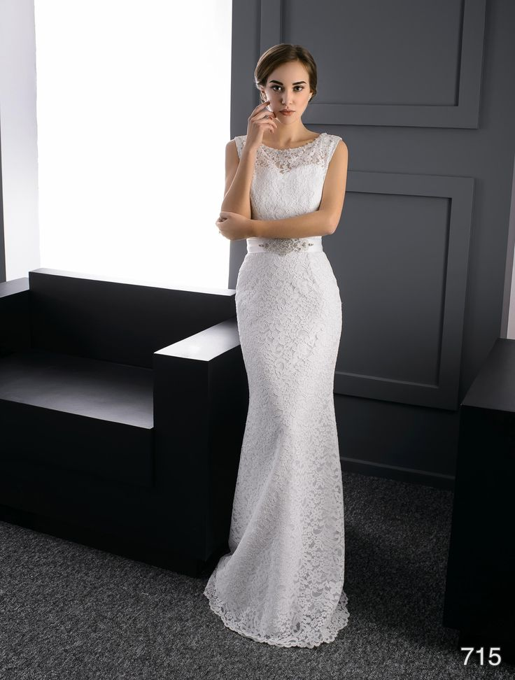 Sheath wedding dress -ElodyWedding.com