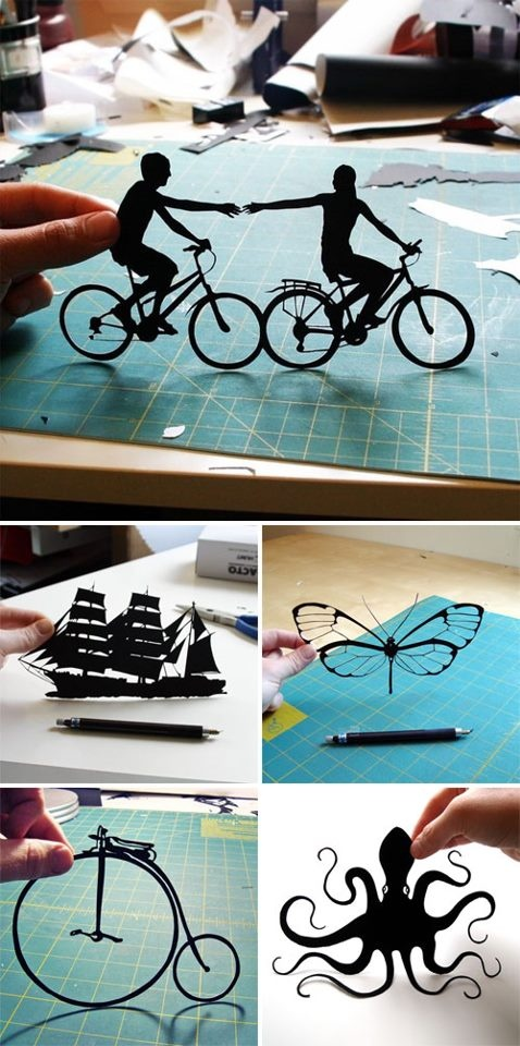 Paper cut with exacto knife.