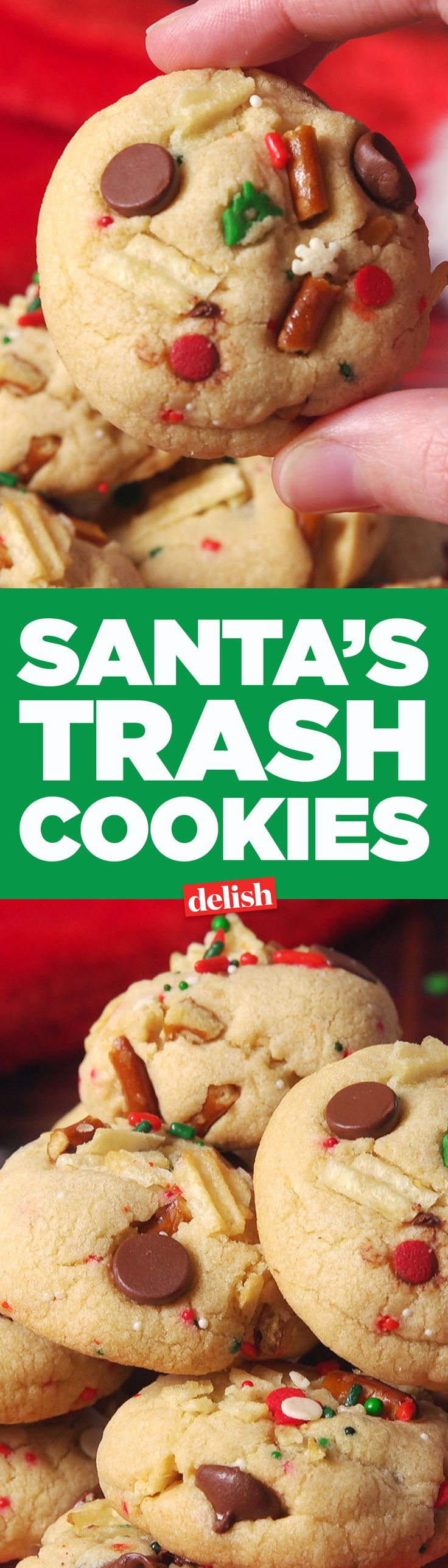 Santa's Trash Cookies are better than presents. Get the recipe from Delish.com.