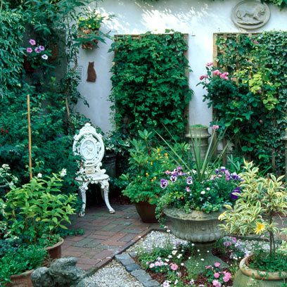 """like the idea of broken up """"floor"""" spaces, in my case, a brick walkway, some ornamental grasses, gravel, more ground cover types of plants, maybe pots filled with flowers"""