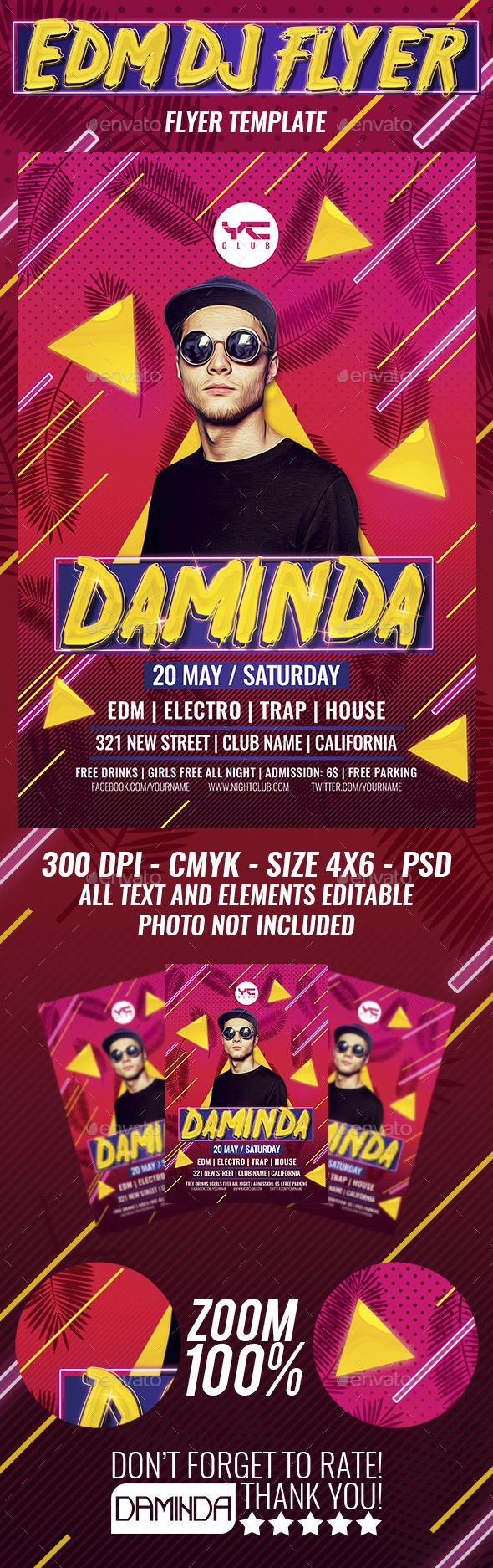 Electro Dj #Flyer #Template - Clubs & Parties #Events Download here: https://graphicriver.net/item/electro-dj-flyer-template/19524658?ref=alena994