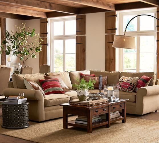Pearce Upholstered 3 Piece Sectional With Wedge Pottery