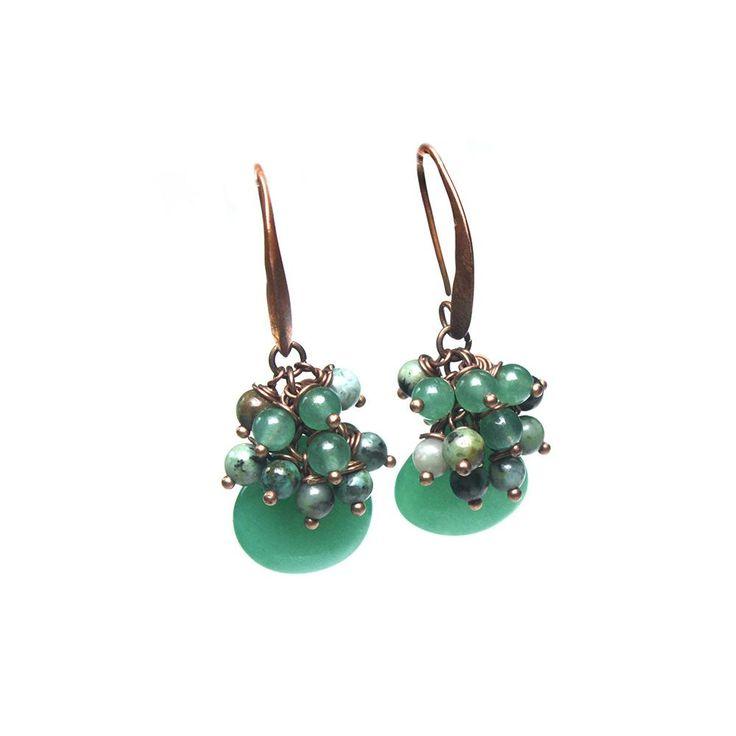 Earrings Bohemian Green - Green Jade, African Turquoise and Aventurine