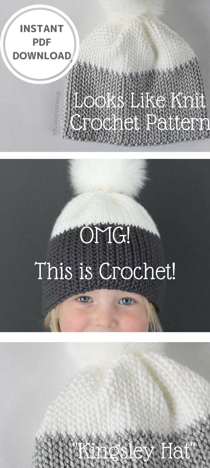 Crochet Pattern - Kingsley  Knit Look  Crochet Hat by Lakeside Loops  (includes Baby 63e47bfae2b