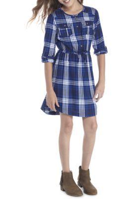 True Craft Plaid Shirt Dress Girls 7-16 - Blue - Xl