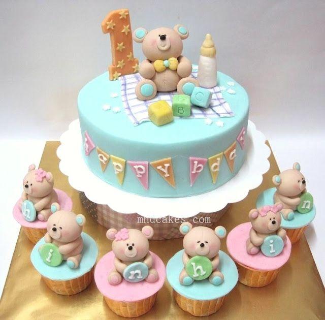 Teddy bear cupcakes: Bears Cakes, Child Birthday, Teddy Bears, Pastel Colour, Shower Cakes, First Birthday, 1St Birthday Cakes, Baby Cakes, Baby Shower