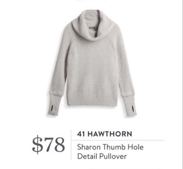 StitchFix 12/19/17....I like thumbhole pullovers!  I'd like to try this....unless it is mostly acrylic, which is too hot and itchy for me.  This color is okay.