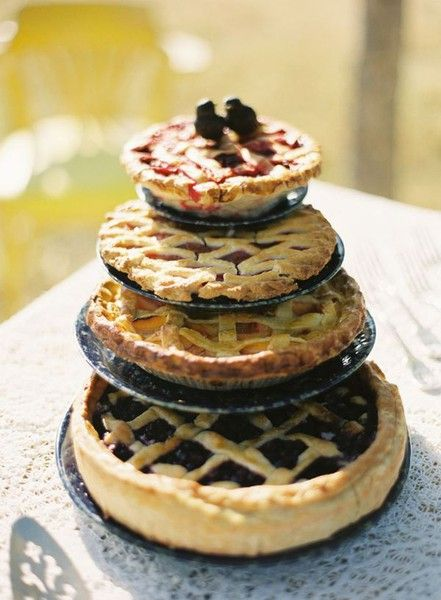 20 alternative wedding cake ideas on this site. Love the pies and the doughnuts!