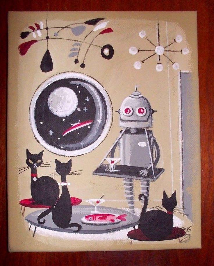 EL GATO GOMEZ PAINTING RETRO 1950S VINTAGE OUTER SPACE SHIP ROBOT BLACK CATS #Modernism