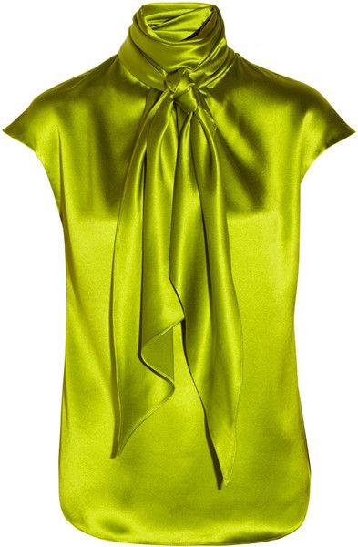 Oscar de la Renta | Yellow Scarfeffect Silkcharmeuse Top
