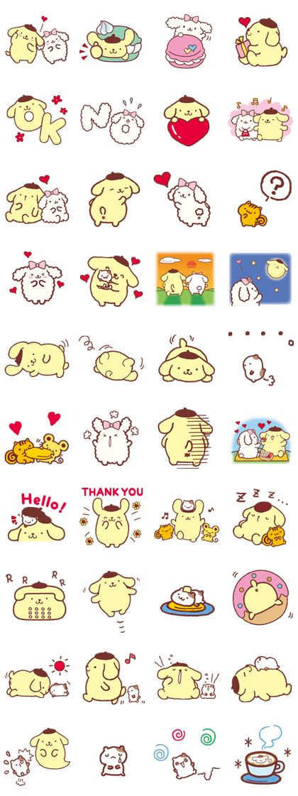 The second round of the adorable Pompompurin stickers are here! Sit back and relax with Macaron, Muffin, and all their friends.