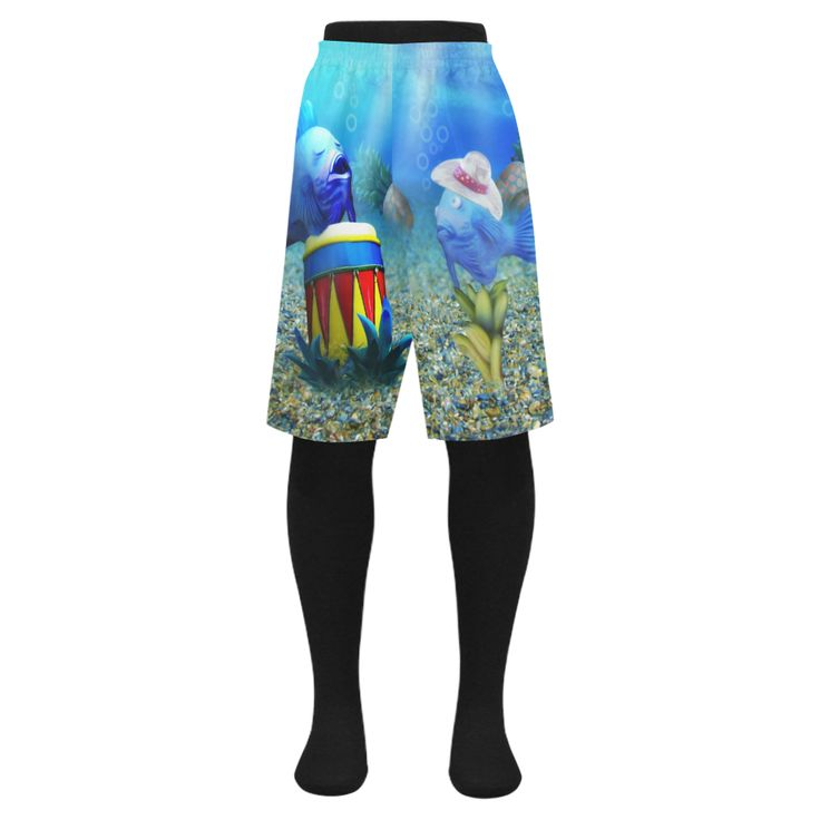 The Singing Tropical Fish Me's Swim Trunks / Swim Shorts - at Artsadd by Gravityx9 Designs - *Elastic waist, 2 front side-entry pockets.  *Size: 34-48.