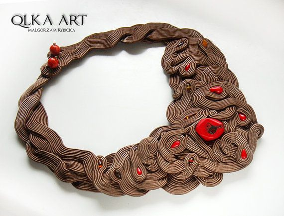Malgorzata Rybicka - Unique large Soutache Necklace with Coral and Amber. by QlkaArt