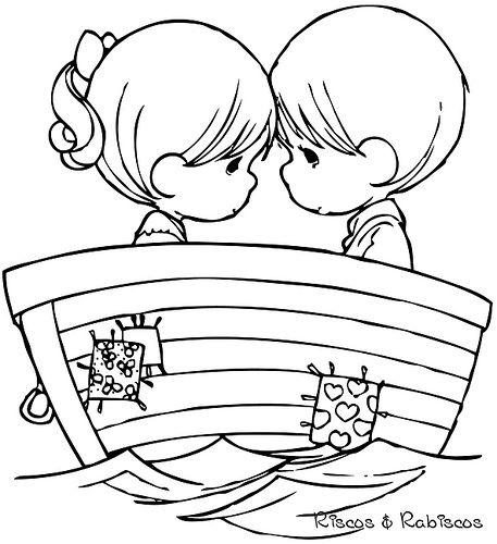 Jongen en meisje in boot
