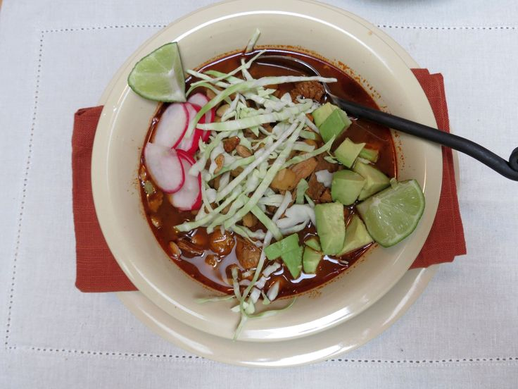 This pozole recipe is made with pork, hominy and Mexican chilies. It is loaded in flavor and quite easy to make. It is a very satisfying soup.