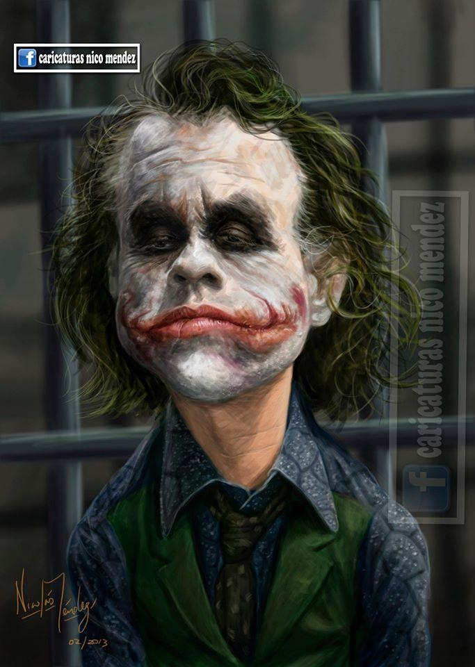 """(Caricatura) """"EL GUASON"""" Heath Ledger. Un gran actor que se fue antes de tiempo pero antes nos regalo una estupenda interpretación del villano de Batman."""