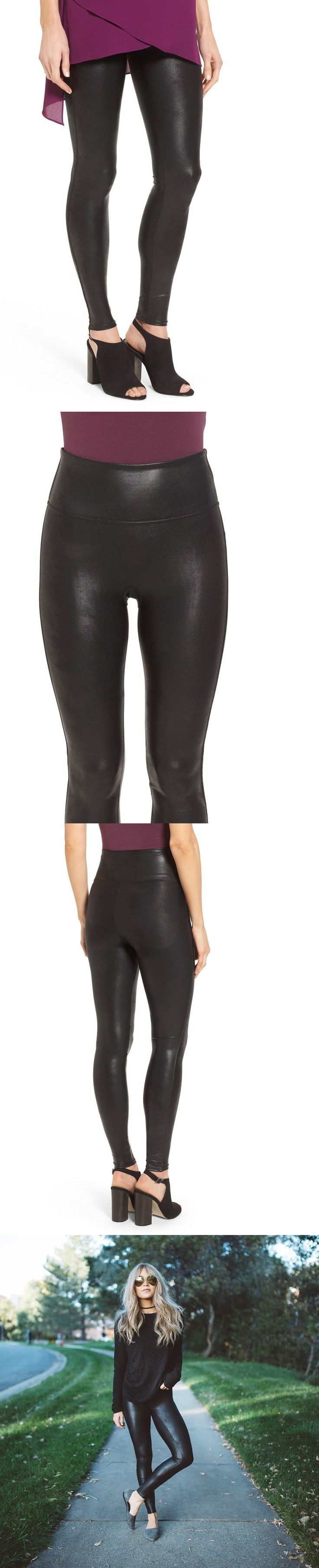 Women Leggings: New Spanx Women S Black Control Top Faux Leather Leggings, Size Medium -> BUY IT NOW ONLY: $60 on eBay!