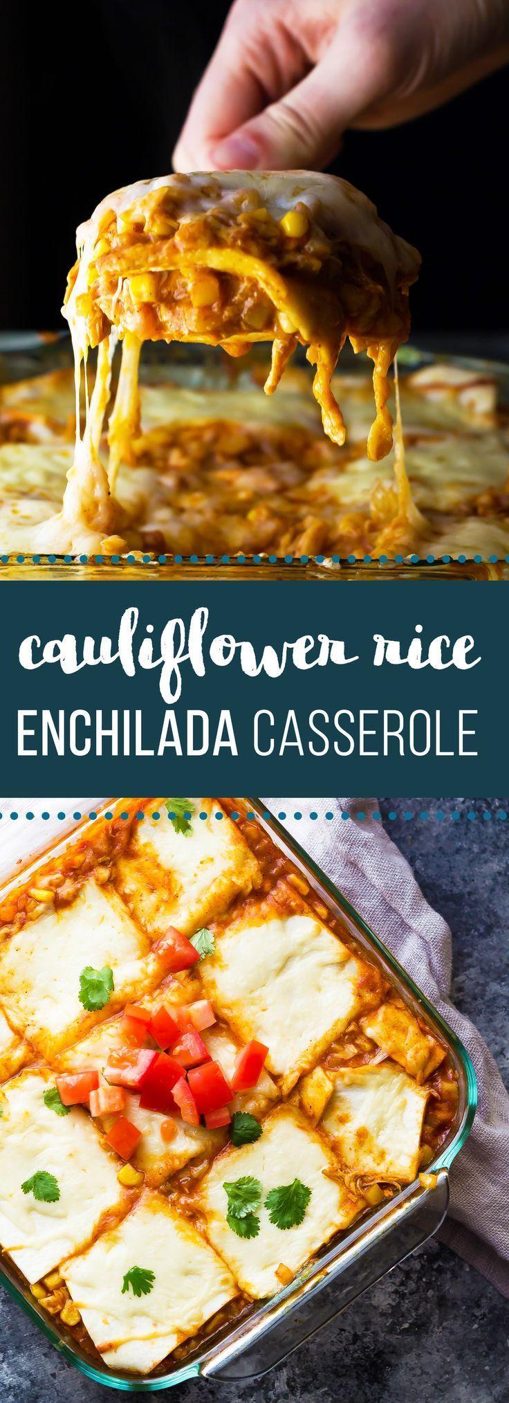 This Cauliflower Rice Chicken Enchilada Casserole is an easy, healthy dinner recipe.